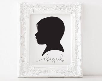 Custom Silhouette / Silhouette Picture / Profile Print from Photograph / Mother's Day Gift / Father's Day Gift / Children's Picture