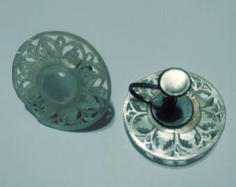 Beautiful vintage earrings..abalone look.screwbacks flower delicate cut