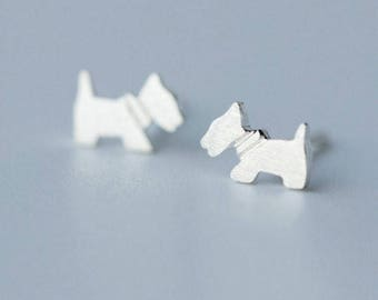 Cute & Simple 925 Sterling Silver Dainty Puppy Dog Earrings