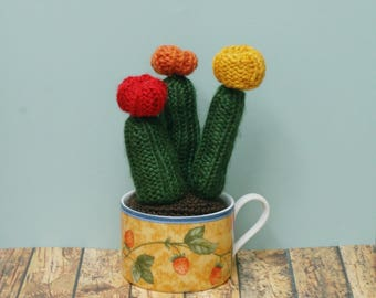 Colorful Trio of Crochet / Knit Faux Cactus in patterned tea cup