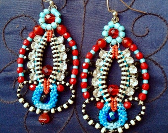 Dangle beaded bead earrings sculptural moorish