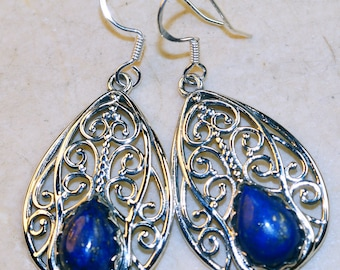 Stunning Lapis Lazuli set in Solid 925 Sterling Silver Earrings