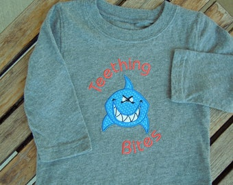 Teething Bites Tee Shirt, Boys Teething Top, Shark T-Shirt, Baby Teething Outfit, Embroidered Boy's Shirt, Size 9 Mos.