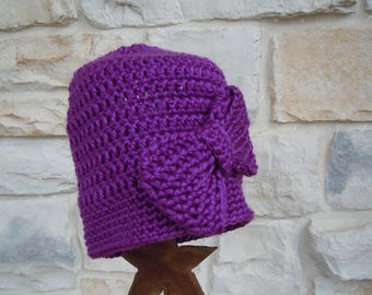 Little Girls' Purple Crochet Beanie Winter Hat, Toddler Girl Crochet Hat with Bow