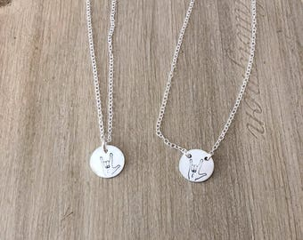 I love you charm necklace, asl necklace, asl jewelry, Valentine's Day, gift for mom, gift for daughter, hearing impaired, sign language