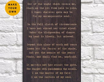 Invictus Poetry print Wood wall art Motivational wall art poem gift for Husband gift Men gift for Wife gift for him Panel effect Wood art