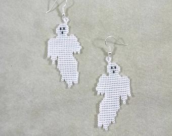 Halloween Ghost Earrings, Beaded Ghost Jewelry, Off Loom Style Spirit Earrings, Holiday Theme Jewelry