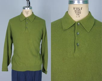 "Vintage 1950s Men's Sweater | ""Kiama Kid"" Mohair Avocado Green Sweater | Extra Large"