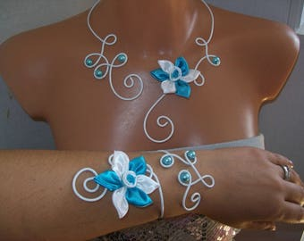 set 4 piece bridal wedding white flower aluminum wire in white satin / blue turquoise beaded evening ceremony witness bridesmaid