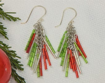 Red and Green Fringe Christmas Earrings (CE11)