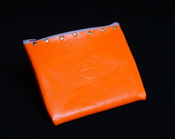 James Zip Purse - Bright Orange and Gloss White - Handmade Kangaroo Leather - James Watson