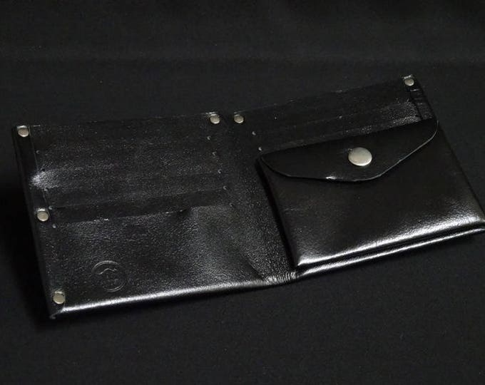 10Pocket Wallet with Coin Pocket - Black Gloss - Kangaroo leather with RFID credit card blocking - Handmade - James Watson