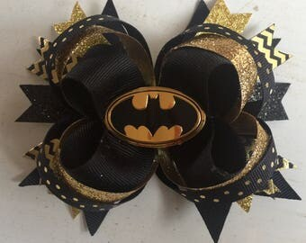 Batman Stacked Gold Glitter Boutique Hair Bow