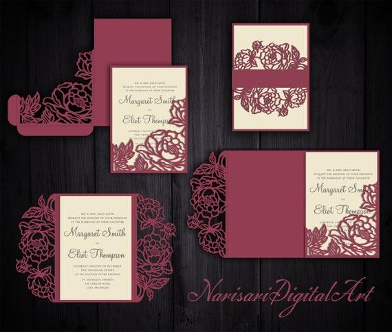 Peonies Set Cricut Wedding Invitation Template Gate Fold / Tri Fold Pocket  Envelope / Bellyband. SVG Cutting Files, Laser Cut