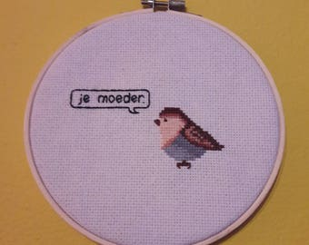 Embroidery frame with Cheeky little bird