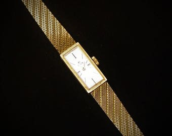 Elgin Ladies Rectangle Wrist Watch, 10K Gold Filled, Gift For Her