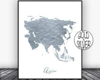 Asia Map, Asia Print, Asia Continent, Map of Asia, Map Wall Art Print, Office Prints, , Gold Decor GoldArtPrint