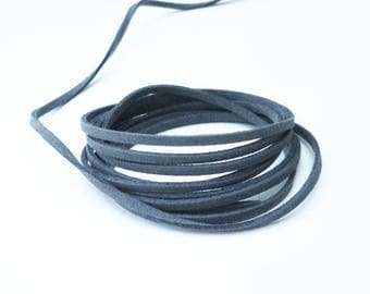 Suede cord gray smoked 3 mm suede - by the yard