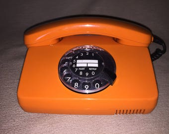 Vintage telephone FeTAp 791-1 Federal post telephone H.Windmaier dial telephone orange