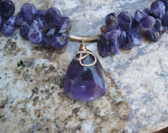 Amethyst Briolette with Wire Wrapped Pendant Necklace