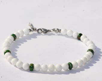 Anklet / ankle jewelry / gemstones / white/reality Agate