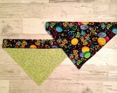 Happy Birthday Over Collar Dog Bandana, Pet Scarf, Reversible