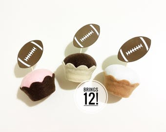 SALE! Football cupcake toppers , football party cupcake toppers , football season cupcake toppers , football party decor , Super Bowl party