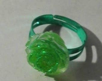 glittery pink, green ring