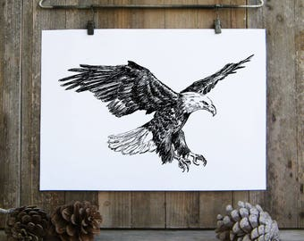 Bald eagle print, Black and white printable, Bald eagle painting, 4th of july, Nature art print, Hipster room decor, Cabin decor