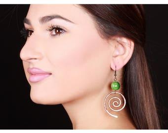 Bronze Nephrite Earrings - Spiral Earrings - Statement Earrings - Drop Earrings - Bronze Earrings - Dangle Earrings - Gemstone Earrings