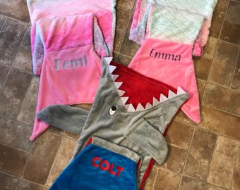 Mermaid Tail Blanket-Shark Tail Blanket-Kids-Child-Personalized-Embroidered-Custom-Easter-Birthday
