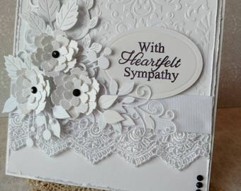 Beautiful Handmade White Sympathy Greeting Card #WC2018-30