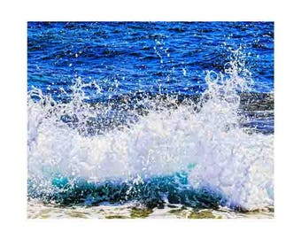 coastal decor print, beach wall art large, blue ocean wall art, extra large wall art, lake house decor, ocean blue wall art