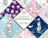 Owls Digital Paper Pack, Cute Owl Patterns, Baby Owls Paper, Owl Party Backdrop, Glitter Owls Planner Stickers, Children Custom Fabrics