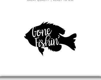 Gone Fishing Perch Graphic - Fishing Clipart - Cut Files - Panfish Instant Download - Gone Fishin' SVG - Fishing camp art - Ready to use!