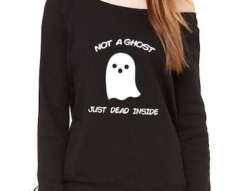 Not A Ghost Just Dead Inside Slouchy Off Shoulder Oversized Sweatshirt