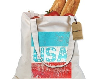 USA Vintage Distressed Look Shopping Tote Bag