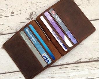 Personalized Leather Wallet Money Clip Groomsmen Gift Mens Wallet 3rd anniversary gift for Men Minimalist Slim Wallet Leather Billfold