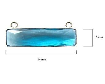 BLUE TOPAZ RECTANGLE 8X30 mm silver double q