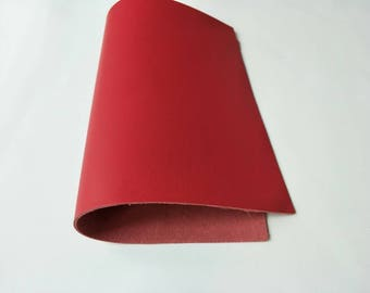 "Leather Scrap, Genuine Leather, Leather Pieces, Red, Size 8.25"" by 11.75""  Leather Scrap for DIY Projects."