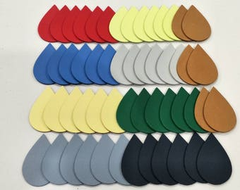 "Leather Teardrops, 50 Pcs. (25 Pairs), 2 1/4"" (57 mm.) Long, Mixed Colors, Teardrops Die Cut, Teardrops Style, Earing Accessories."