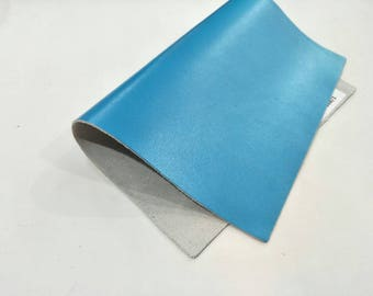 "Leather Scrap, Genuine Leather, Leather Pieces, Flash Blue , Size 8.25"" by 11.5""  Leather Scrap for DIY Projects."
