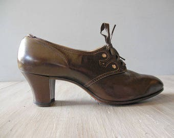 20s CHOCOLAT Oxford Pumps | Brown Women's Oxford Brogue Shoes | Leather Wingtip Snakeskin Detail | Size 7