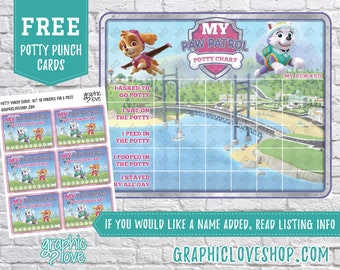 Printable Paw Patrol Girl Potty Training Chart, FREE Punch Cards   High Res Digital JPG File, Instant download, NOT Editable, Ready to Print