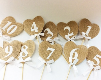 Burlap Table Number Cards,Rustic Wedding Reception,Jute,Hessian Ribbon Cards,Heart Shape,Wedding,Numbers Topper,Party,Bridal Shower Decor