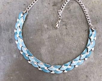 Blue vintage necklace, teal necklace, vintage wedding, turquoise necklace, bridal necklace, 1950's enamel choker, signed jewelcraft necklace