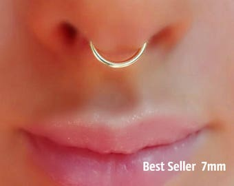 Silver Plated Fake Septum Ring Gold, Silver, Black, Antique Brass .Septum Ring.HIGH quality SILVER PLATED wire(Non tarnish)