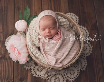 Amoris Bonnet or Wrap, Newborn Bonnet, Wool Bonnet, Newborn Photo Prop, Newborn Hat, Photography Prop, Baby Bonnet, Newborn Photograph