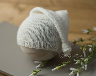 Aiden Sleepy Cap in Off White, Newborn Sleepy Cap, Wool Bonnet, Newborn Photo Prop, Newborn Hat, Photography Prop, Newborn Photography