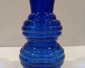 Cobalt Blue Ribbed Glass Vase, Marked USA 3